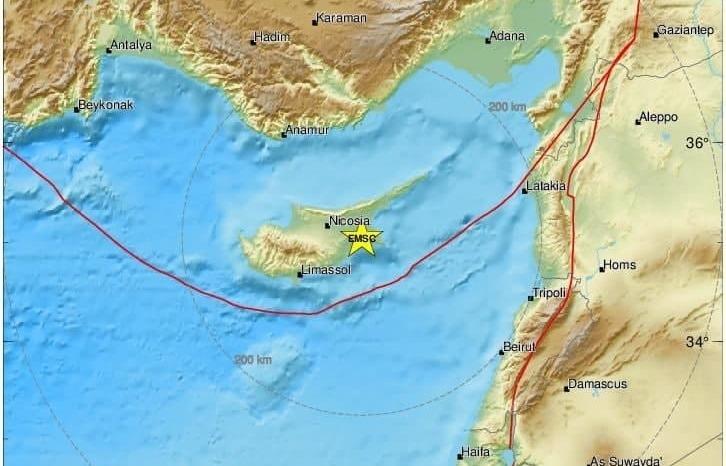 هزة أرضية  قرب قبرص